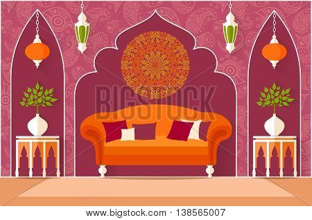 The interior design in oriental style. Living room in a flat style. Vector illustration. The concept of turkish arabian or indian interior. Ornate palace.