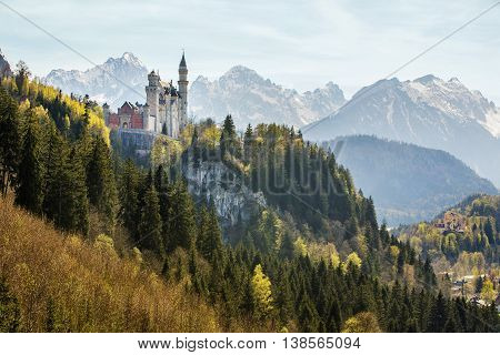 Germany. The famous Neuschwanstein Castle in Bavaria, panorama view.