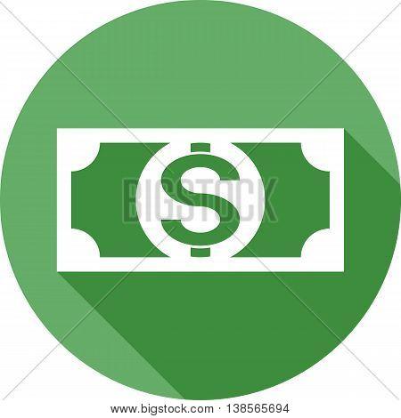 Dollar bill flat icon with long shadow