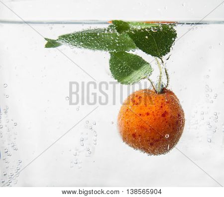 Apricot in water with a the bubbles.