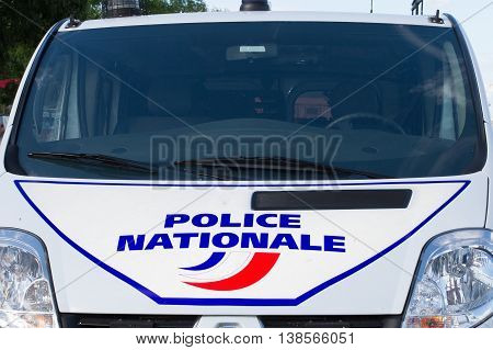 Side Of A French Police Car Or Truck