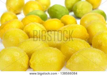 Group of fresh lemons with water drops