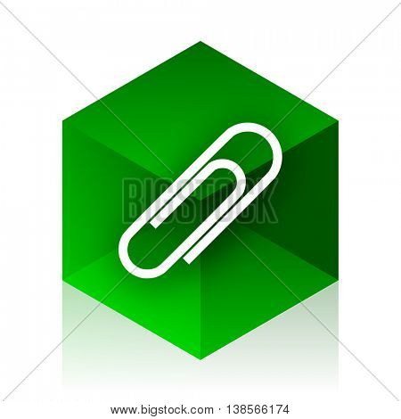 paperclip cube icon, green modern design web element