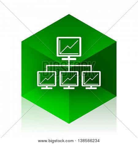 network cube icon, green modern design web element