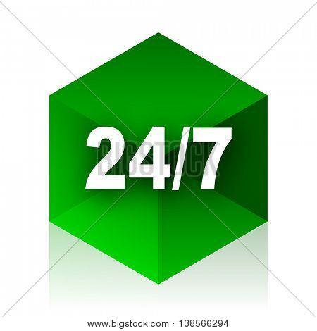 24/7 cube icon, green modern design web element