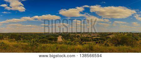 Panorama shot of Dry Tarangire River in Tanzania