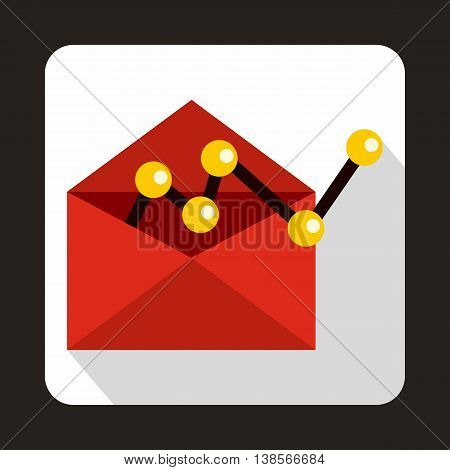Red envellope with graph icon in flat style on a white background