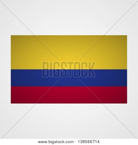 Columbia flag on a gray background. Vector illustration