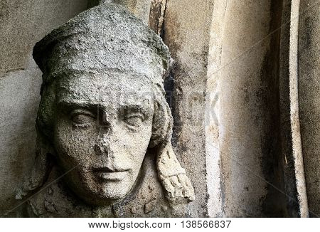 medieval, head, stone, sculpture, architecture, detail, gothic