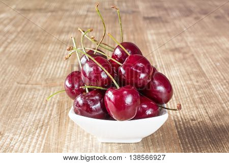 Cherries In White Bowl