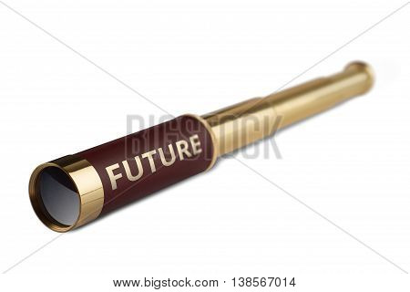 3d illustration business concept with a vintage telescope having the word future written on it
