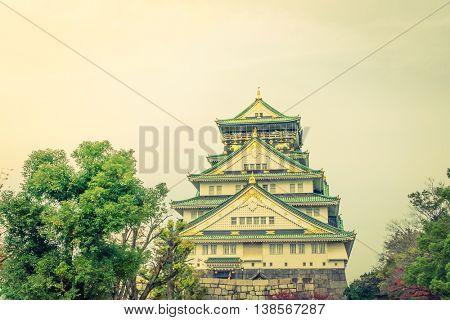 Osaka castle in Osaka Japan ( Filtered image processed vintage effect. )