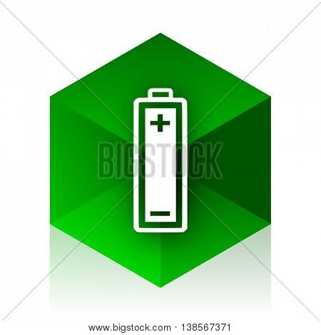 battery cube icon, green modern design web element
