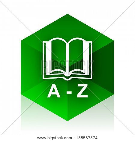 dictionary cube icon, green modern design web element