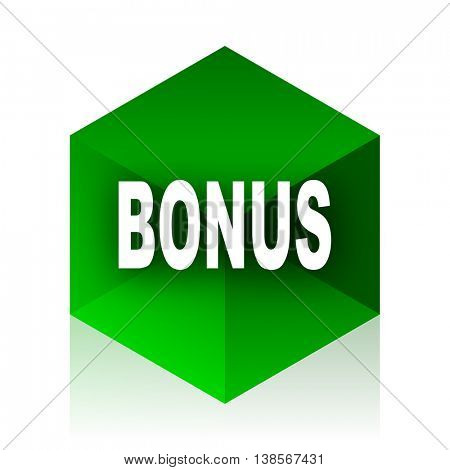 bonus cube icon, green modern design web element