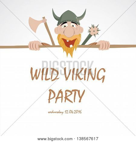 Funny cartoon viking emerge from party banner
