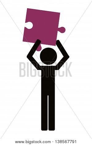 flat design person holding puzzle piece icon vector illustration