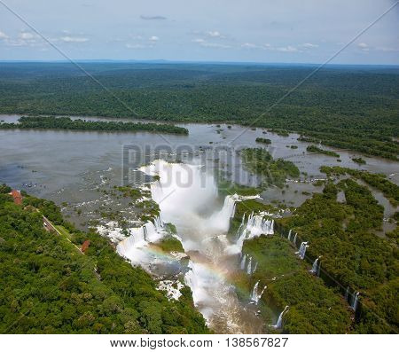 Devil's Throat - largest waterfall of the Iguazu Falls. Picture taken from a helicopter