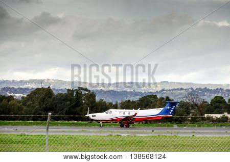 Adelaide Australia - June 22 2013: Royal Flying Doctor Service plane ready to take off in Adelaide airport.