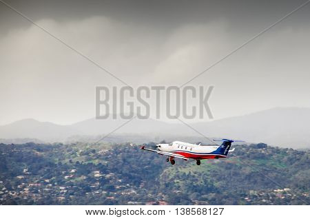 Adelaide Australia - June 22 2013: Royal Flying Doctor Service plane taking off from Adelaide airport.