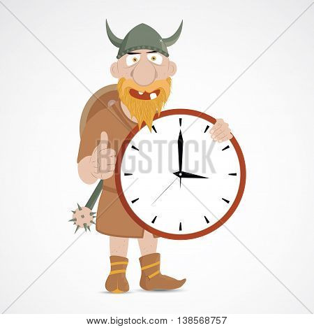 Funny cartoon viking with thump up holding clock