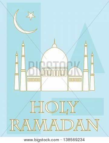an illustration of a holy ramadan greeting card with white mosque and islamic symbol on a blue abstract background
