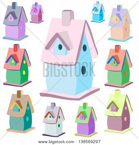 Nesting box icon, cartoon style, vector image