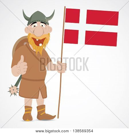 Funny cartoon viking with thump up and showing Denmark flag