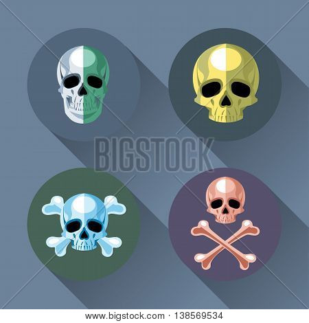 Skull and bones set flat style. Digital vector image