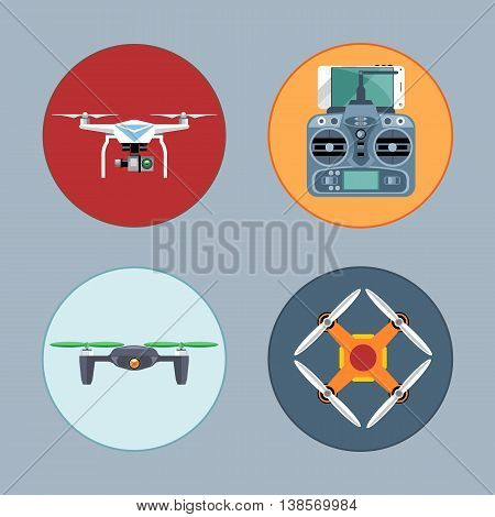 Drone set flat style. Remote controled copter mobile phone control board. Digital vector image