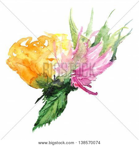 Watercolor flower floral boutonniere set isolated illustration