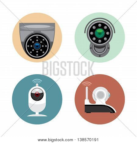 Surveillance recording security camera set flat style. Remote controled cand stationary devices. Digital vector image