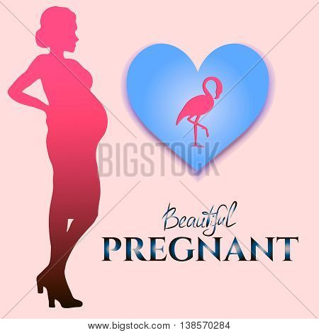 Beautiful pregnant, vector image with silhouette pregnant and flamingo