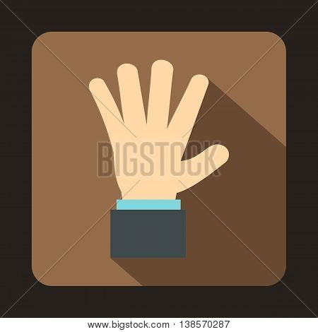 Hand showing five fingers icon in flat style on a coffee background