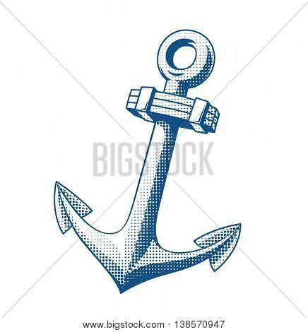 Ship anchor tattoo vector illustration steel marine emblem
