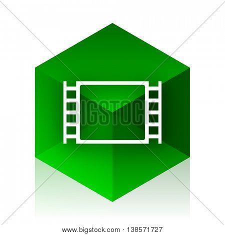 movie cube icon, green modern design web element