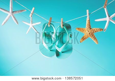 Summer Theme With Sandals And Starfish