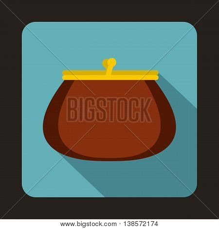 Brown retro purse icon in flat style on a baby blue background