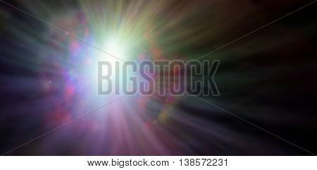 In the beginning there was LIGHT - wide dark banner with a vibrant white light on left side and streams of color radiating outwards creating a light burst and copy space on right