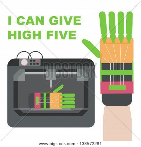 Prosthetic hand made by 3d printer. Plastic hand can give high five. Vector illustration.