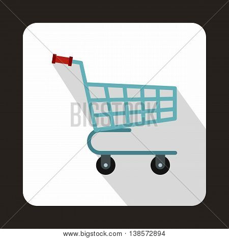 Shopping cart icon in flat style on a white background