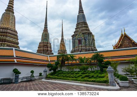 Bangkok, Thailand - June 30, 2016: Landscaping welcoming visitors with a message to Wat Pho in the Thai capital