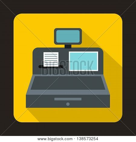 Cash register with cash drawer icon in flat style on a yellow background