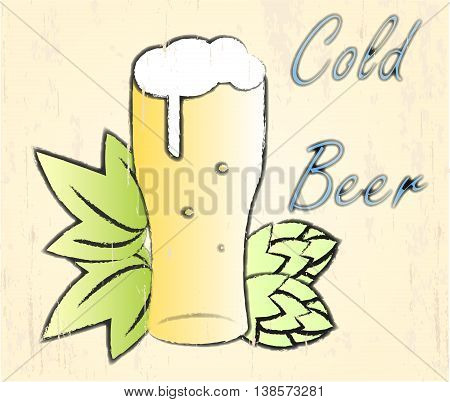 Vector illustration of beer glass with hop.