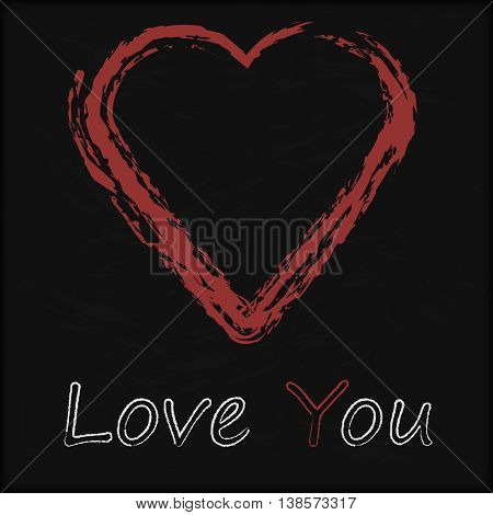 Vector - Blackboard with Love Heart You Message written with Chalk