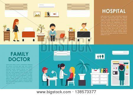 Hospital and Family Doctor flat hospital interior concept web vector illustration. Doctor, Nurse, Patient, Healthcare. Medicine service presentation