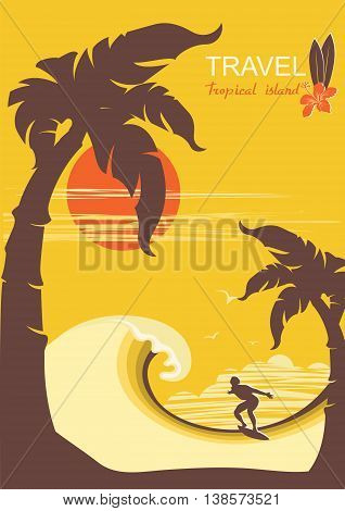 Tropical Paradise With Palms Island And Surfer