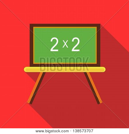 Chalkboard with simple mathematical equation icon in flat style on a red background