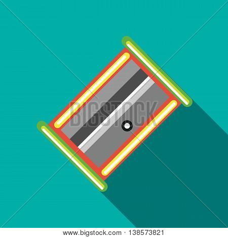 Pencil sharpener icon in flat style on a turquoise background