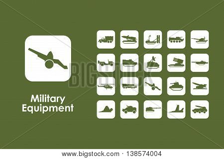 It is a set of military equipment simple web icons